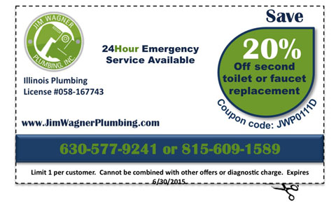 Jim Wagner Plumbing Coupon - 20% Off any 2 Toilet or 2 Fixture Replacements