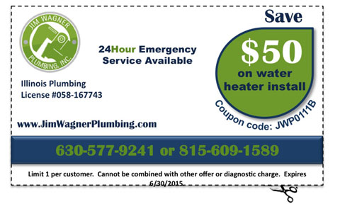 Jim Wagner Plumbing Coupon $50 Off Water Heater Installation