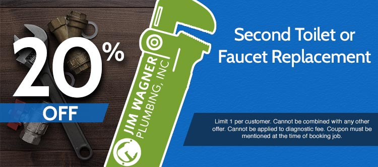 discount on second toilet or faucet replacement