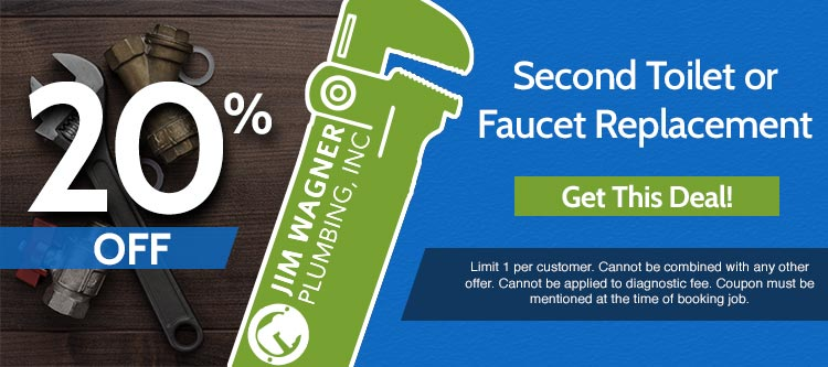 discount on second toilet or faucet replacement in Lombard Illinois